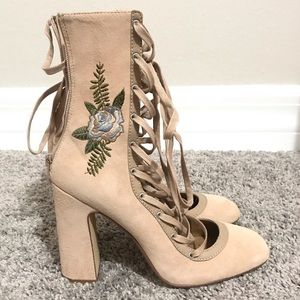 Beige Suede Embroidered Booties Size 9